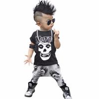 trajes para niñas pequeñas al por mayor-2019 Nuevo 2 unids Recién Nacido Niño Niños Cráneo de Manga Corta Infantil Bebé Niños Niñas Ropa de Verano Camiseta de Algodón Pantalones Trajes Conjuntos