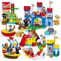 grandes blocos venda por atacado-GOROCK Big Blocks Castelo Grandes Partículas Blocos de Construção de Tijolos de Guerra Piratas Educacionais Bebê LegoIN Brinquedos Compatíveis Com Duplo