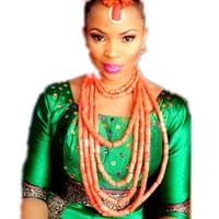 jóia cor de laranja venda por atacado-Edo Jóias De Casamento Tradicional Brincos Pulseira e Colar Set Laranja Natureza Africano Nigeriano Coral Beads Jewelry Set 2018