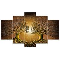 moderne lackierrahmen großhandel-5 Panels Moderne Abstrakte Poster Wanddekor Liebe Kuss Dame Baum Leinwand Malerei Drucke Schlafzimmer Wohnzimmer Büro Wandkunst Dekor Kein Rahmen