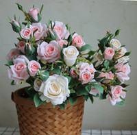Wholesale orange wedding table decorations for sale - Group buy Beautiful new rose branch artificial flowers for home table decor wedding Xmas decoration flores artificiales fake flowers
