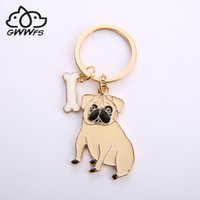 Wholesale jewelry for dog lovers for sale - Group buy Alloy pug Dog Key Chain Key Ring Bag HandBag Charm Keychain Accessories New Fashion Jewelry For Women Dog lovers gifts