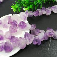 rohe steinperlen großhandel-Amethyst Typ Unregelmäßige Lila Stein Strang Perlen für DIY Schmuck Machen Qualität Raw Steinspitze Perle