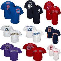 béisbol de los yankees al por mayor-Phillies masculino Rhys Hoskins Mike Trucha Christian Yelich Aaron Juez Yankees Jersey Javier Baez Clayton Kershaw Mookie Betts Camisetas de béisbol