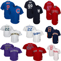 camisas de beisebol para homens venda por atacado-Phillies Rhys Hoskins Mike Trout Christian Yelich Jérsei Yankees Jersey Javier Baez Clayton Kershaw Mookie Betts Camisas de Beisebol