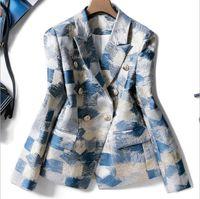 moda göğüs toptan satış-Avrupa ve Amerikan kadın sonbahar kış 2019 yeni stil Uzun kollu yaka kruvaze Moda jakarlı ceket