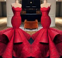 robe de soirée romantique sweetheart achat en gros de-Robes de soirée formelles en sirène rouge romantique sirène sweetheart 2019 nouvelles paillettes en dentelle longues robes de bal Pageant robes BC0888