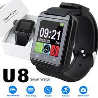 мобильный телефон с сенсорным экраном оптовых-U8 Smart Watch с сенсорным экраном наручные часы со спящим монитором для iPhone 7 6 Samsung S8 Android IOS сотовый телефон