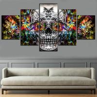 arte sin enmarcar para muros al por mayor-Cráneo artístico de colores abstractos, lienzos de 5 piezas Arte de la pared Pintura al óleo Decoración para el hogar (sin marco / enmarcado)