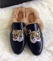 Wholesale real rabbit shoes resale online - Brand new women s Princetown suede velvet leather slippers with real rabbit fur winter slippers Loafers Muller shoes EUR35 box