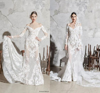 Wholesale wedding dress pleated chiffon skirt for sale - Group buy Zuhair Murad Lace Wedding Dresses with Long Sleeve Modern Applique Mermaid Off Shoulder Beach Garden Civil Bride Wedding Gown