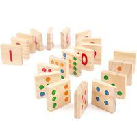 Wholesale building blocks dominoes resale online - Montessori Domino Wooden Digital Matching Building Blocks Kids EducationalGeometric Assembly Matching Cognitive Blocks Toys