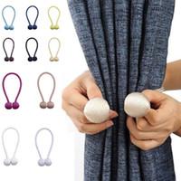 cortinas ímãs venda por atacado-Gravata Magnética Tiebacks Drape Rope Holdbacks Para Ímã fivela Painéis Sheer Quarto Cinta Corda Home Decor WX9-1331