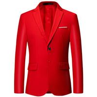 lüks düğün smokinleri toptan satış-Yeni lüks erkek takım elbise ceket büyük boy 6XL Ince düz renk ceket, moda iş ziyafet düğün ceket smokin takım elbise cek ...