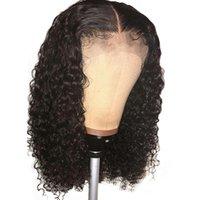 doğal renk brezilya kıvırcık saç toptan satış-Kadınlar Için 13X6 Dantel Frontal Peruk Doğal Siyah Renk Brezilyalı Remy Kıvırcık Tam Dantel İnsan Saç Peruk Doğal saç Çizgisi
