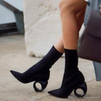 malha botas ocas venda por atacado-Moda Knitting Sock Boots Aluno Ankle Boots Tornozelo Tecido de Salto Elástico Sexy Rodada Círculo Sapatos de Salto Alto Mulher Botas Mujer