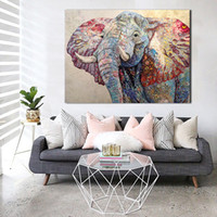 Wholesale elephant art decor resale online - JQHYART Paintings On Canvas Animal Picture Colorful Elephant Modern Home Decor Wall Pictures For Living Room No Frame Art