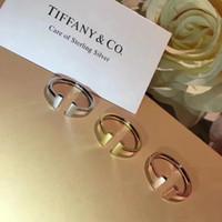 plata de ley para estampación al por mayor-S925 plata de ley de lujo doble T forma punk anillo de sello abierto logo encanto anillo joyería día de navidad joyería PS6476