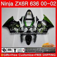 verde zx6r venda por atacado-Corpo para KAWASAKI chamas verdes NINJA ZX 600 CC 600CC 6 R ZX636 ZX6R 00 01 02 37HC.65 ZX 636 ZX-6R ZX-636 ZX 6R 2000 2001 2002 kit de carenagem
