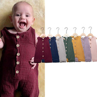 Wholesale infant linens for sale - Group buy 2019 Summer baby boy girl romper fashion boutique solid color sleeveless linen jumpsuit infant climb clothing