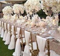 silla de barco al por mayor-Barato Silla Fajas de gasa Cubierta de la silla de la boda Fiesta nupcial romántica Banquete Silla Volver Favores de boda Suministros de boda Envío rápido