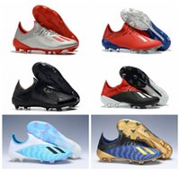 Wholesale blackout football shoes resale online - cheap mens soccer cleats X FG Predator soccer shoes football boots outdoor Tacos de futbol high quality blackout