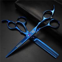 saç kesimi salonları toptan satış-Mavi 6-inch kuaför saç kesimi Çok ucuz kuaförlük makas ve pet makas Saç araçları Ev pet saç kırpma araçları