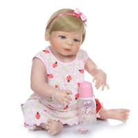 ingrosso bambola reale piena-56CM bambola bebe capelli biondi rinata bambina victoria appena nati del silicone pieno corpo bagno giocattolo morbido tocco reale impermeabile