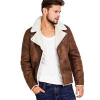 искусственный мех для мужчин оптовых-Искусственный мех воротник кожезаменитель куртка мужчины зима коричневый замша куртка флис теплый бомбардировщик пальто мужской верхней одежды карман 3XL боковой молнии