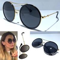 şekillendirici gözlükler toptan satış-Kadınlar Tasarımcı Güneş 0061 Moda Stil Karışık Renkli Retro Yuvarlak Çerçeve kadınlar için en iyi kalite gözlük UV Koruma Mercek 0061S