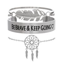 Wholesale cute big bracelets resale online - cute Bracelets Sets Vintage Big Metal Feather Bracelets Letters BEBRAVE KEEP GPING Bangles Jewelry Gift Dreamcatcher Bracelet Set
