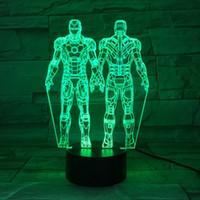 ingrosso l'uomo di ferro 3d ha portato le luci-Marvels The Avengers figura di Iron Man 3D LED Night Light 7 multi colore acrilico lampeggiante Table Lamp bambini giocattolo Lights