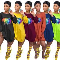 tek parça elbiseler tasarlar toptan satış-Kadınlar One Piece Parti Elbiseler Gece Kulübü Elbiseler Dudak tasarım Rahat Fener Etekler Balo Ekip Boyun Yaz Sıcak Satış 1044