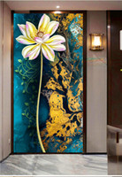 Wholesale background indoor painting resale online - Custom Any Size D Mural Wallpape Lotus Gold Artistic Art Oil Painting Indoor porch Background Wall Decoration Mural