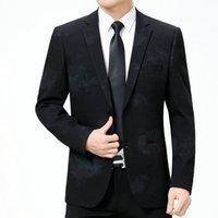 traje ajustado al por mayor-WAEOLSA Elegantes Hombres Slim Fit Blazers Chaqueta de Traje Estampado Flroal Oscuro Hombre Moda Chaqueta Masculino Inteligente Traje Casual Para Hombre Blazer