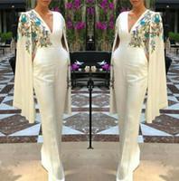 Wholesale sexy t pants lace resale online - Elegant V Neck Long Evening Dresses Pant Suits Capped Embroidery Floor Length Prom Party Gowns Jumpsuit Celebrity Dresses