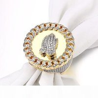 Wholesale wide white gold ring for sale - Group buy Wide Men Rings Praying Hand CZ Crystal Paved Bling Bling Punk Big Vintage Ring Men Hip Hop Jewellery Gold Color Gift Box