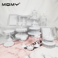 Wholesale cupcake stands for sale - Group buy 15 Pieces Party Set Tier Round Plate Tray And Cupcake White Pink Wedding Dessert Metal Cake Stand