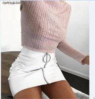 beyaz yüksek bel kalem eteği toptan satış-Moda Yeni Etek Pu Kadın Beyaz Deri Kalem Yüksek Bel Mini Kısa Etek Seksi Fermuar Bodycon Etek Streç Parti Elbise