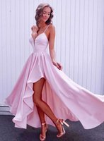 Wholesale gold evening dresses homecoming for sale - Group buy Asymmetrical Skirt Plunging V neck Party Homecoming Dresses Open Back Prom Gowns Elegant Formal Evening Dress Bridesmaid Dress Vestidos