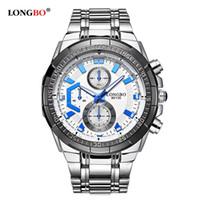 relógio longbo venda por atacado-LONGBO Militar Homens Banda De Aço Inoxidável Esportes Relógios De Quartzo Dial Relógio Para Homens Relógio De Lazer Masculino Relogio masculino 80135