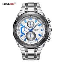 reloj longbo al por mayor-LONGBO Militares Hombres Banda de Acero Inoxidable Relojes de Cuarzo Deportivo Reloj Para Hombres Hombre Reloj de Ocio Relogio masculino 80135