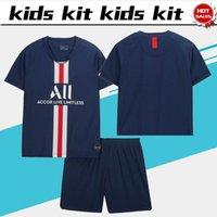 traje de los niños cortos al por mayor-Kit para niños # 7 MBAPPE # 10 NEYMAR JR Inicio 2019 Camisetas de fútbol para niños 19/20 Traje para niños Uniformes de fútbol Jersey personalizado + pantalones cortos
