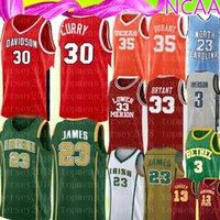 bordados caril camisa de basquete venda por atacado-NCAA Stephen Curry 30 Mens 35 Kevin Durant Jersey ensino médio 23 LeBron James bordado Logos Basketball Jerseys 2019-2020