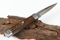 satin en bois achat en gros de-Nouvelle Arrivée F125 Auto Tactique Couteau Pliant 8Cr13Mov Satin Lame Poignée En Bois EDC Pocket Goft Couteaux Avec Sac En Nylon