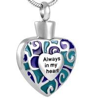 paslanmaz çelik kalp klozetleri toptan satış-Artık Benim Side Forever My Heart anne baba kremasyonu Urn Locket Takı IJD8341 içinde külleri Urn için Paslanmaz Çelik Kolye