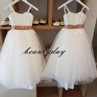 Wholesale cute red dresses for parties resale online - Cute Flower Girls Dresses For Wedding Backless Appliqued Lace Baby Child Birthday Party Gown First Communion Dress Cheap B33