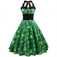 ingrosso swing casa-St. Patrick's Day Dress Four-leaf Clover Dress Halter senza maniche Abiti da sera Swing Abiti Retro casa abbigliamento 10 stili GGA1583