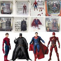 figura de batman brinquedos venda por atacado-Liga da justiça super hero mafex mf batman 056 flash 058 mulher maravilha 048 superman 057 spiderman 047 figura de ação boneca de brinquedo