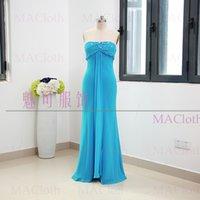 платья для полных платьев оптовых-MACloth  Sheath Strapless Floor-Length Long Crystal Chiffon Prom Dresses Dress L 261709 Clearance